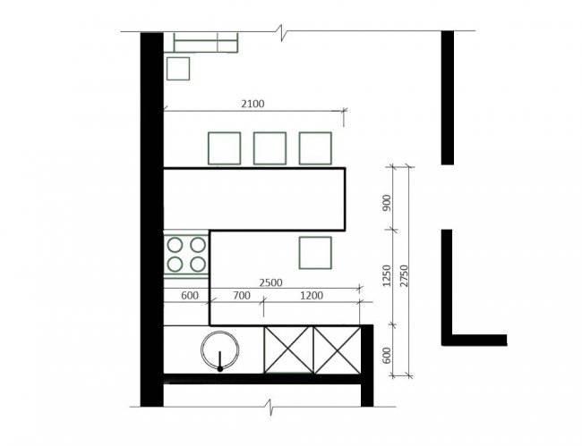 План столовой-кухни