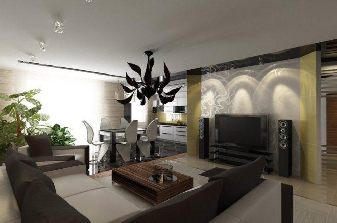 Вариант объединения кухни столовой и гостиной