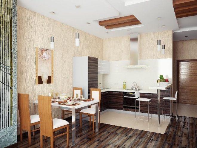 Дизайн небольшой кухни столовой и гостиной