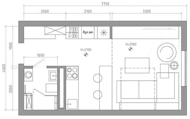 Планировка квартиры студии 30 кв