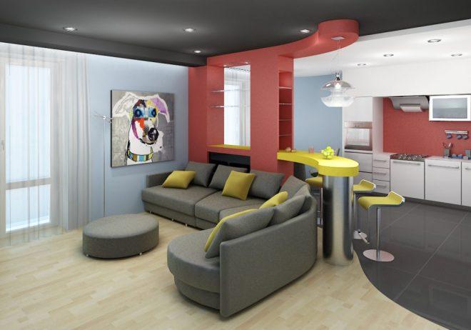 Зонирование помещения квартиры студии