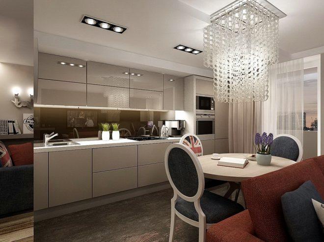 Освещение на кухне студии