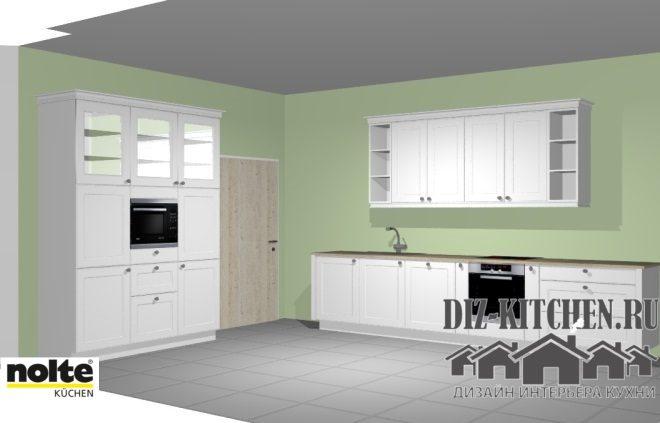 Большая белая кухня 25 кв. м. с мебелью в стиле городской классики