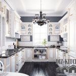 Стильная классическая белая кухня 16 м<sup>2</sup>с черным паркетом