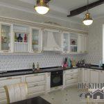 Классическая кухня-гостиная с позолотой и черными холодильниками