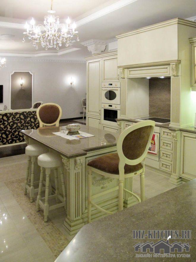 Совмещенная классическая кухня с фитомодулем в квартире-студии