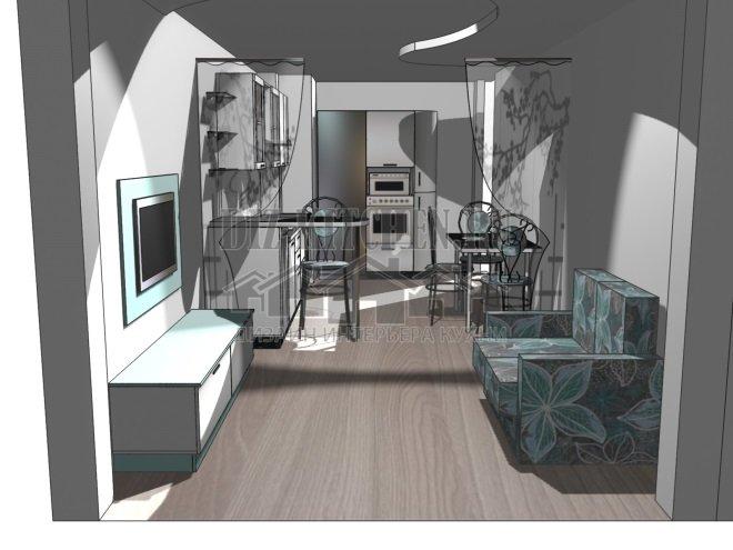 Проект кухни, совмещенной с гостиной