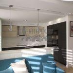 Современная кухня с барной стойкой, совмещенная с гостиной