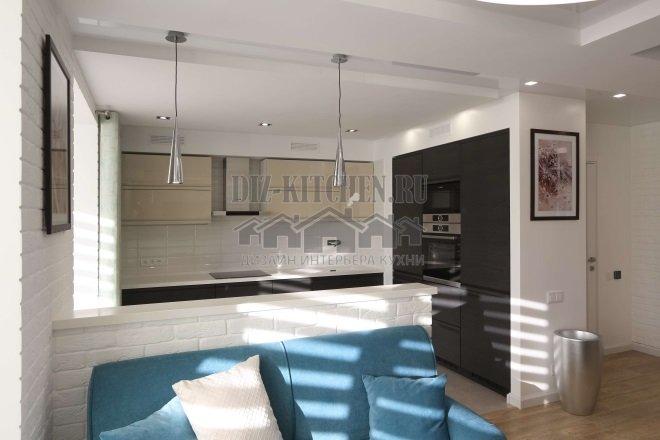 Современная кухня цвета беж-графит