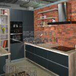 Темно-серая кухня в стиле лофт с полуостровом