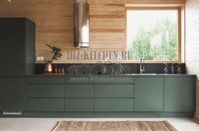 Темно-зеленая кухня в стиле лофт