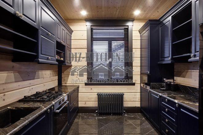 Неоклассическая синяя кухня
