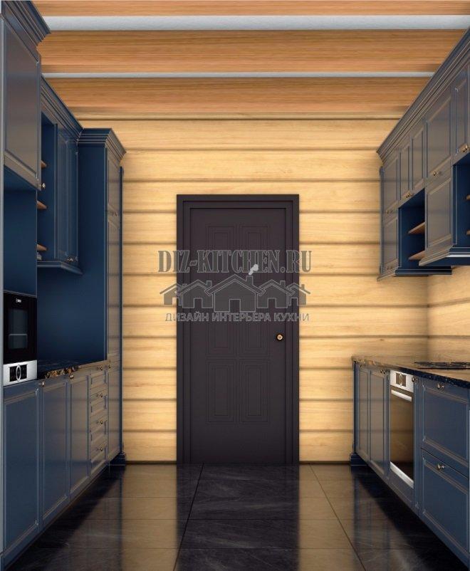 Эскиз синей неоклассической кухни