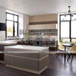 Современная нанокухня с полуостровом в столовой