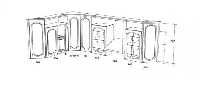 Размеры верхних секций