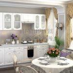 Белая бюджетная кухня Шарлиз в стиле рококо
