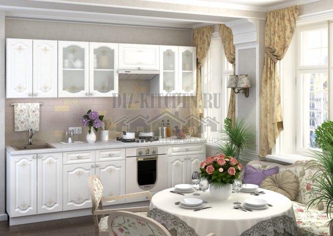 Белая кухня из МДФ в стиле рококо