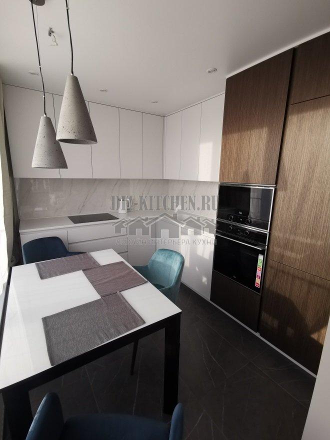Современная кухня из МДФ и шпонированных фасадов