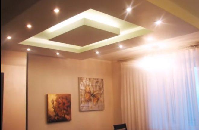 Двухуровневый потолок крашеный