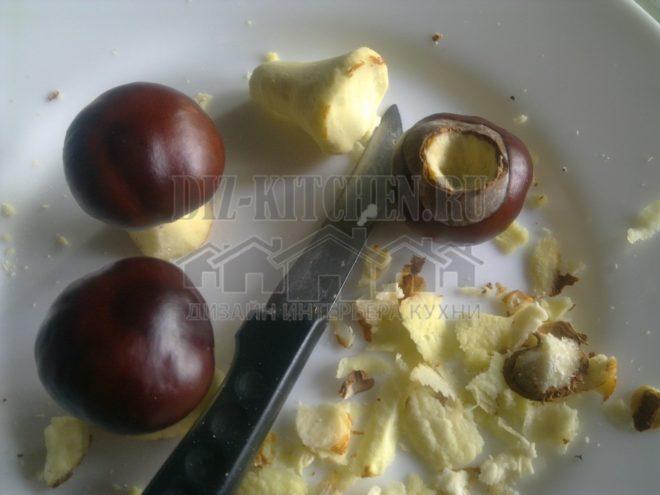 Изготовление грибов из каштанов