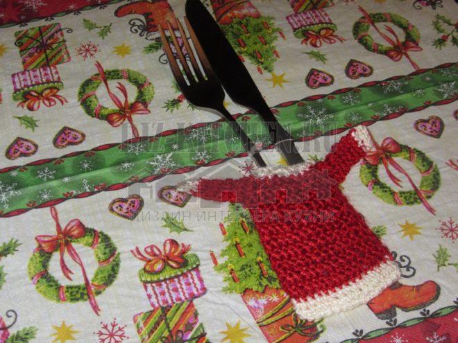 «Дед Мороз» крючком. Мастер-класс по вязанию чехла для столовых приборов