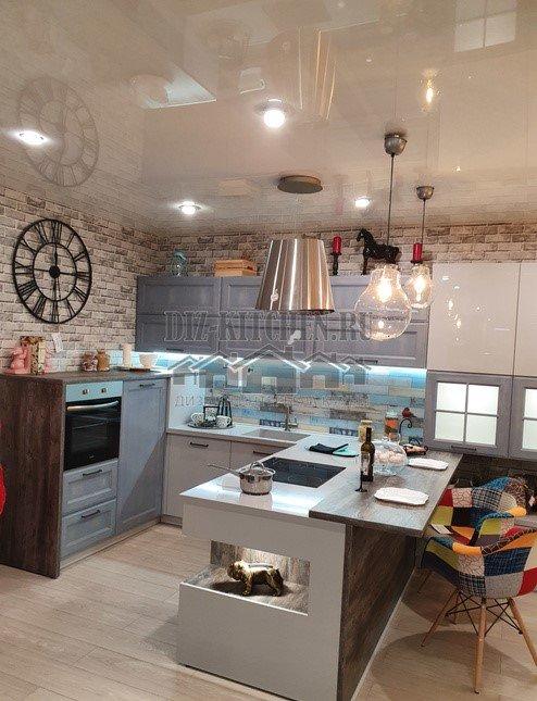 Серо-голубая кухня в стиле лофт