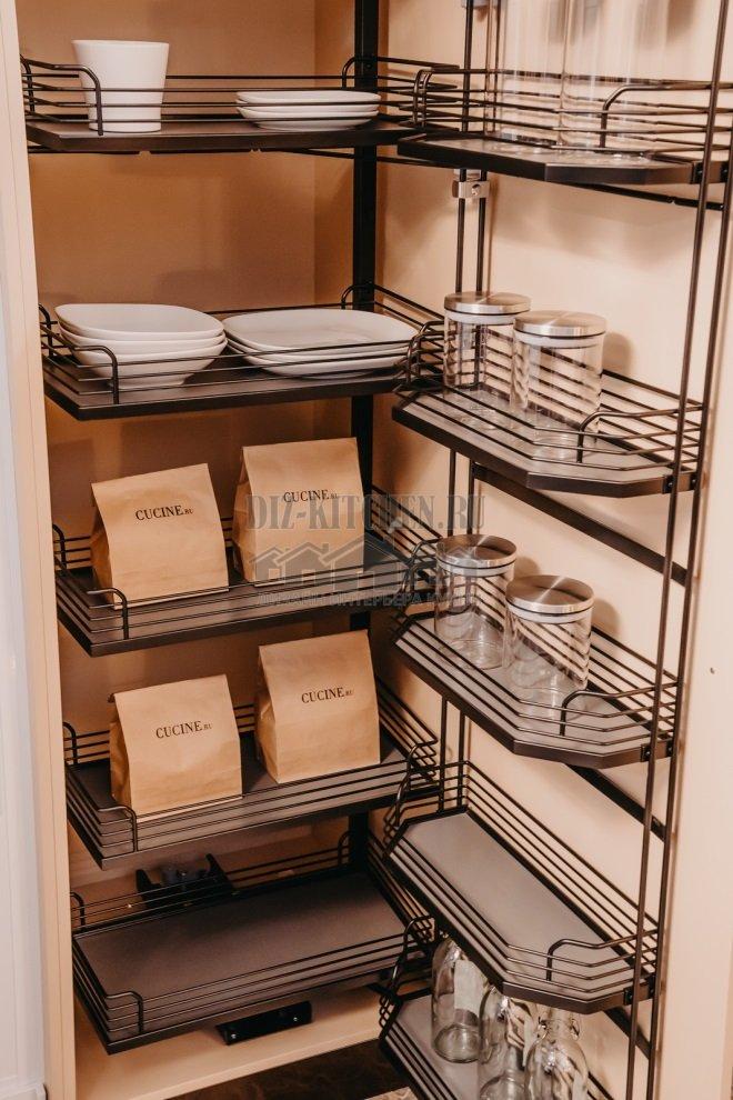 Выдвижные секции в шкафу