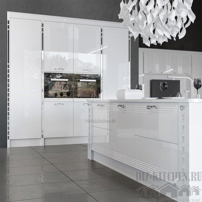 Кухня в просторной гостиной