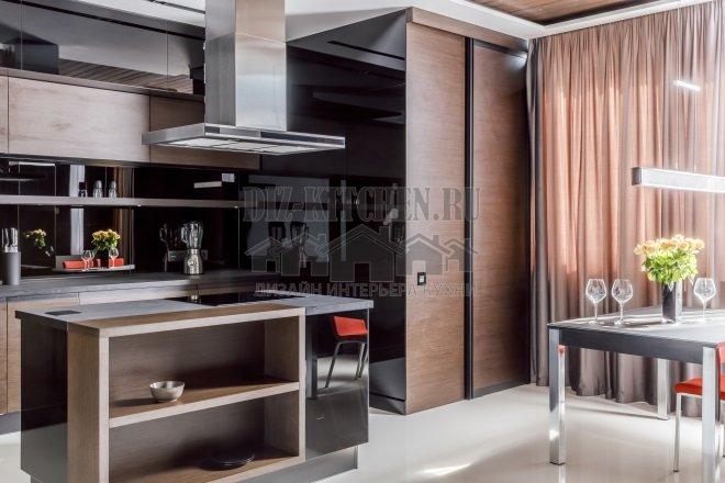 Черно-коричневая современная кухня