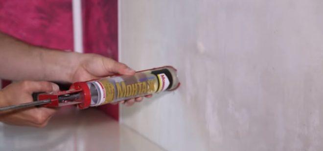 Установка фартука из МДФ на жидкие гвозди