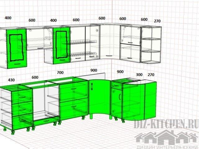 Проект кухни в панельной двухкомнатной квартире