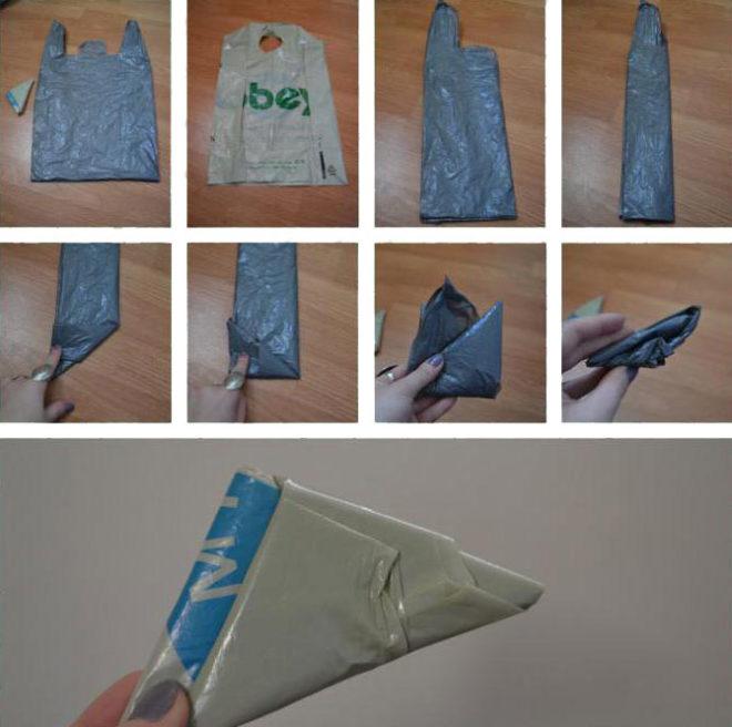 Складываем пакет треугольником