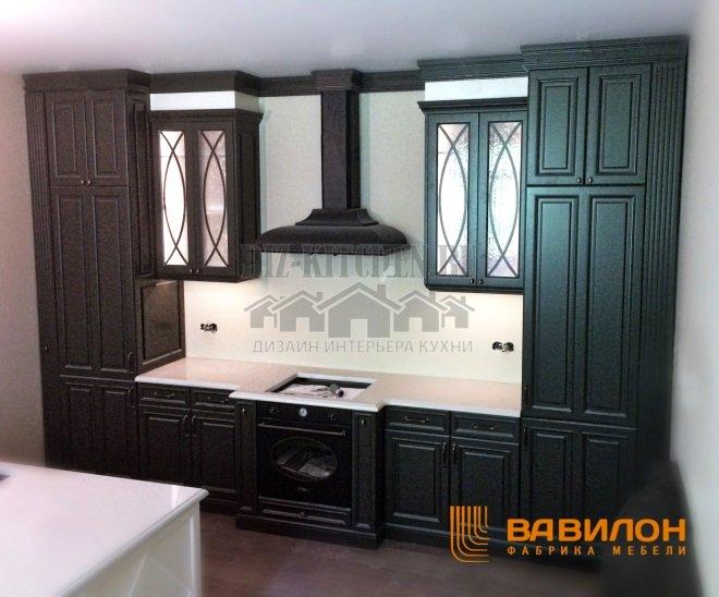 Классическая черно-белая кухня с островом