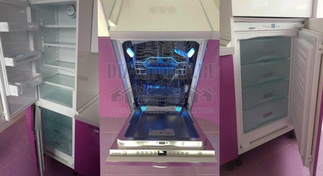 Встроенный холодильник и посудомоечная машина