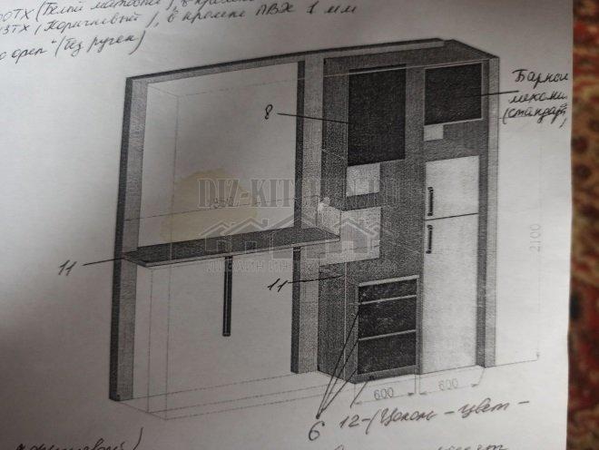 Проект кухни с пластиковыми фасадами